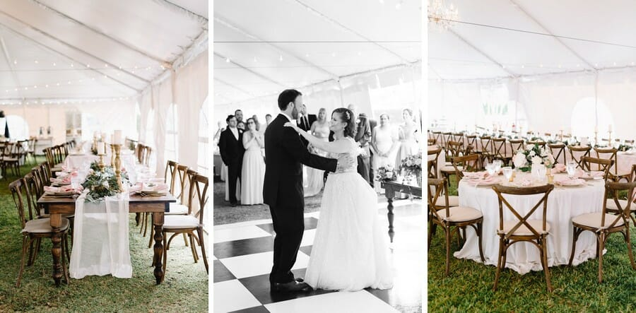 White top tents really make photos pop and give couples a blank canvas when it comes to decor.