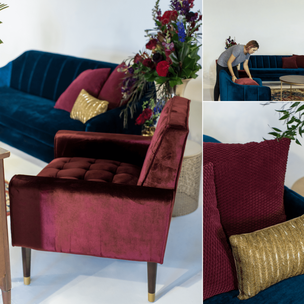 orlando lounge rental jewel tone bohemian inspired lounge with blue and merlot floral arrangements pillows and textiles