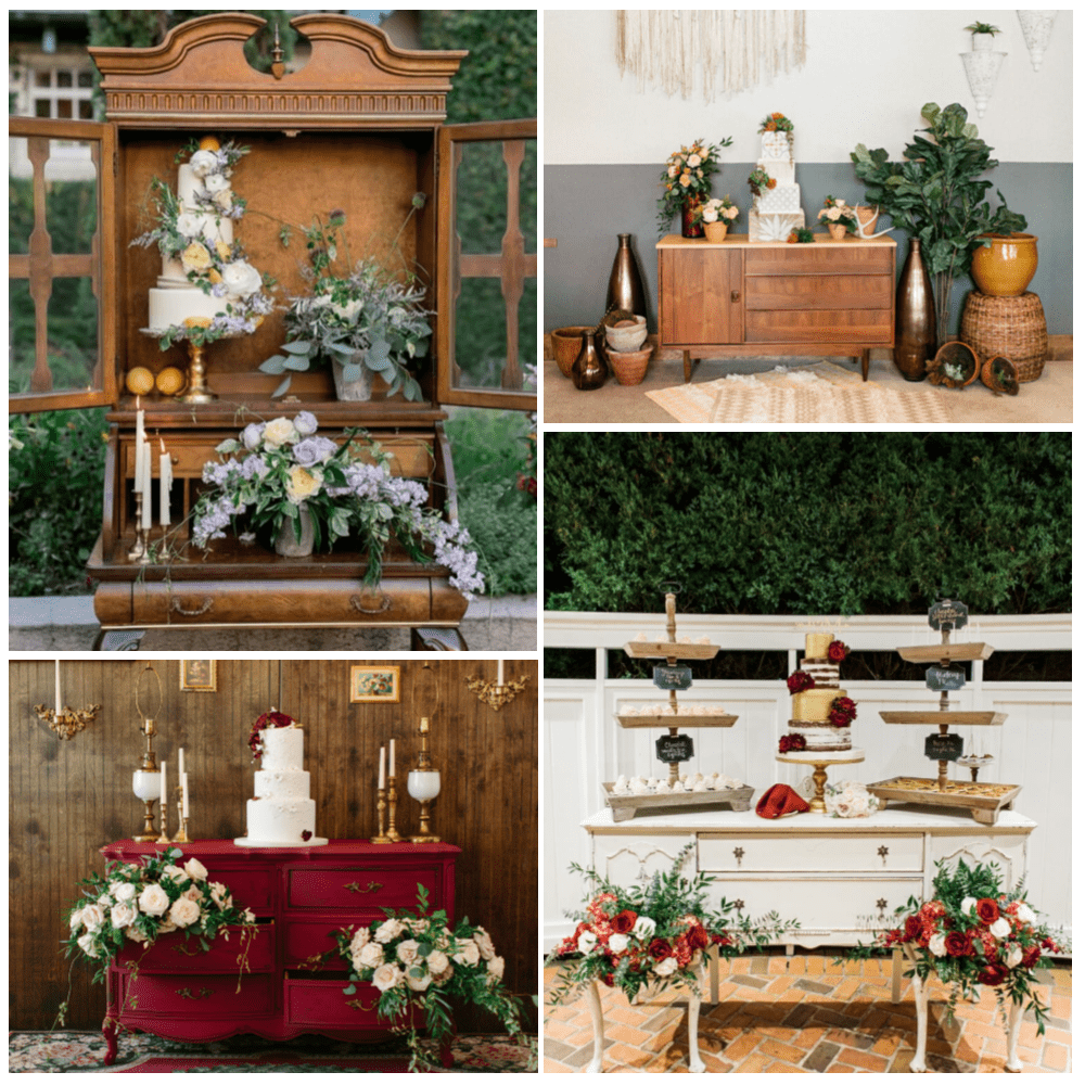 Custom Wedding Cake Vignettes featuring a variety of RW Style's Buffets and Dressers.