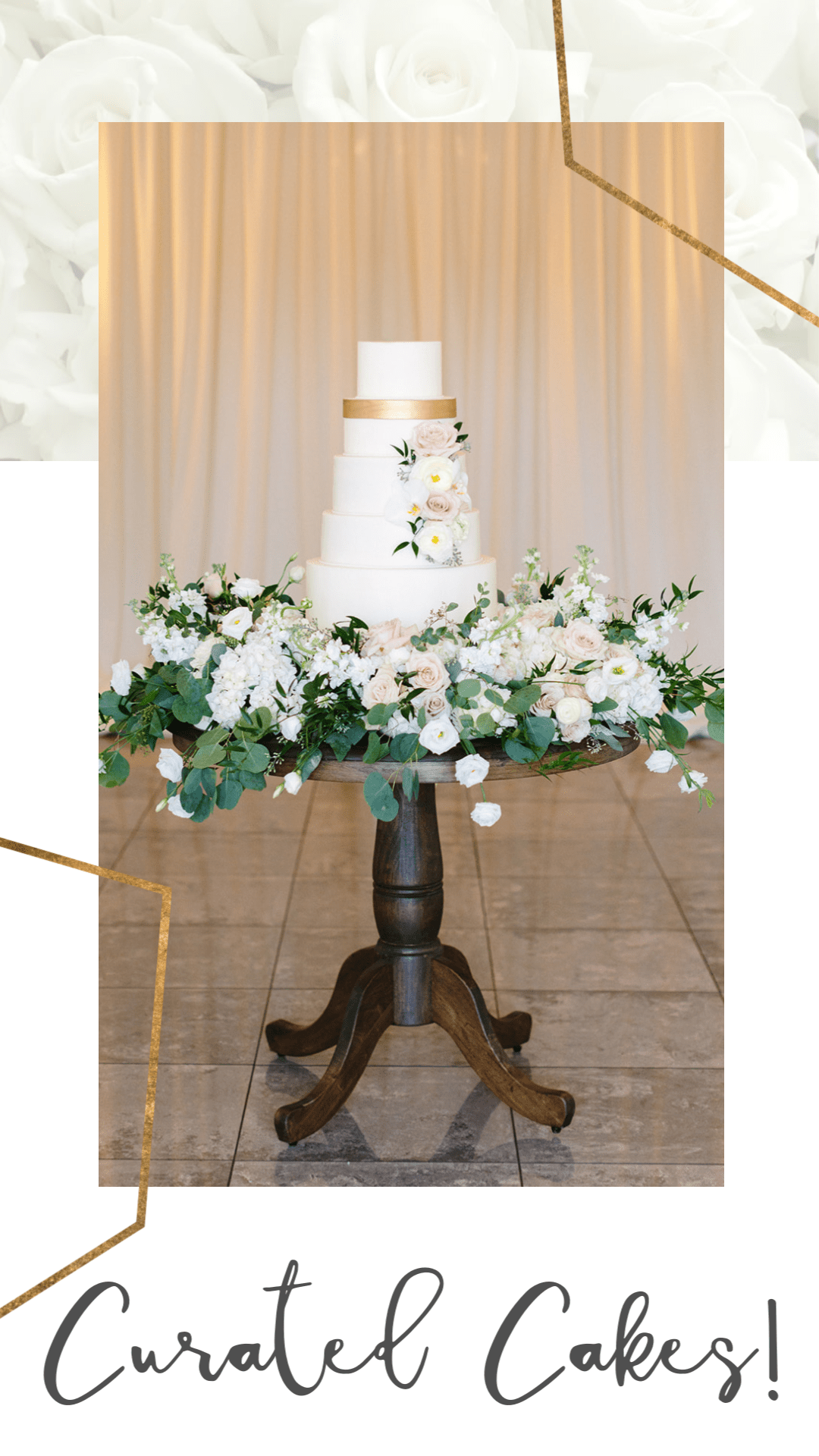 White Wedding Cake Vignette with Fresh Floral and Gold Detailing. Displayed on RW Style's Wooden Table.