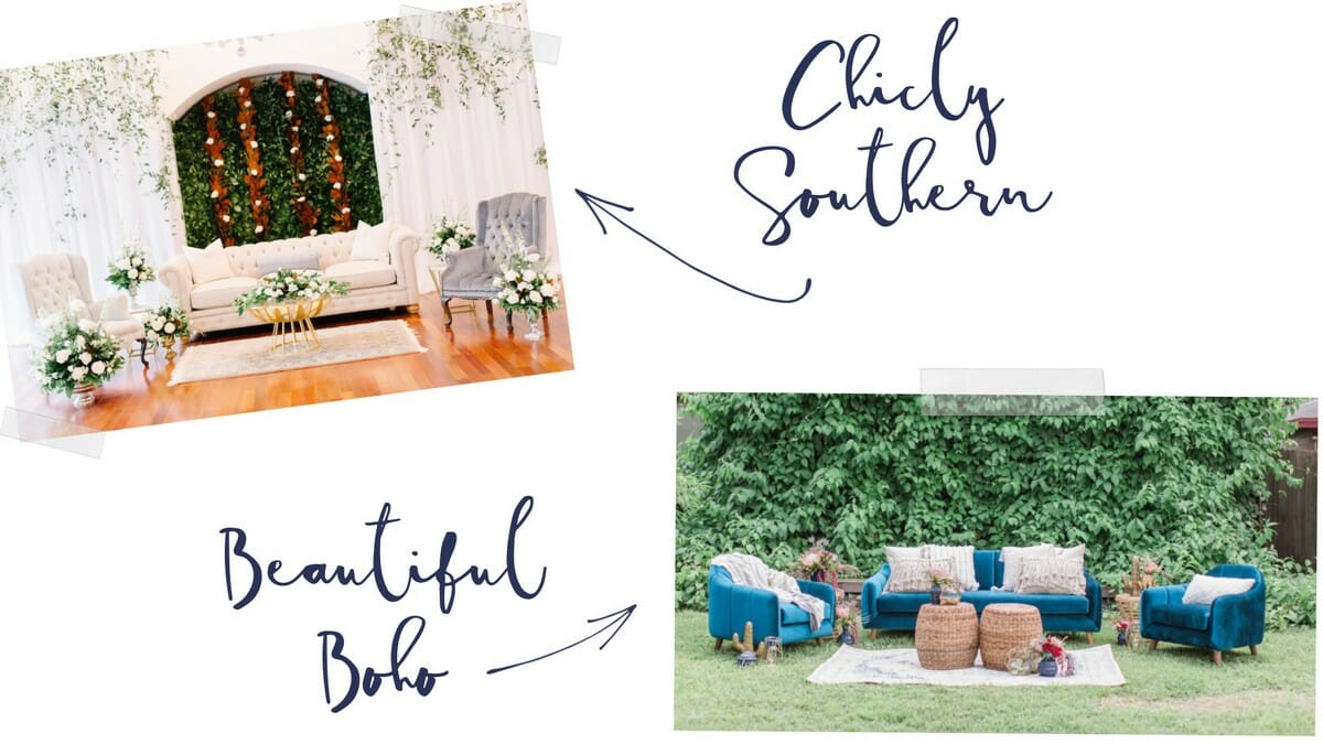 Southern inspired social lounge featuring neutral upholstered seating, gold accents, and lush floral.  Boho inspired social lounge featuring blue upholstered seating, rattan tables, and perfectly paired textiles.