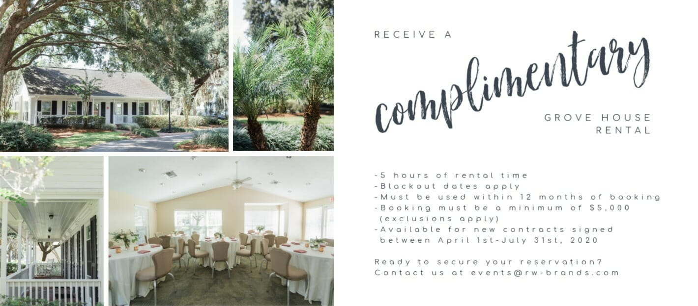Receive a Complimentary Grove House Rental with a qualified venue or rentals/styling booking.