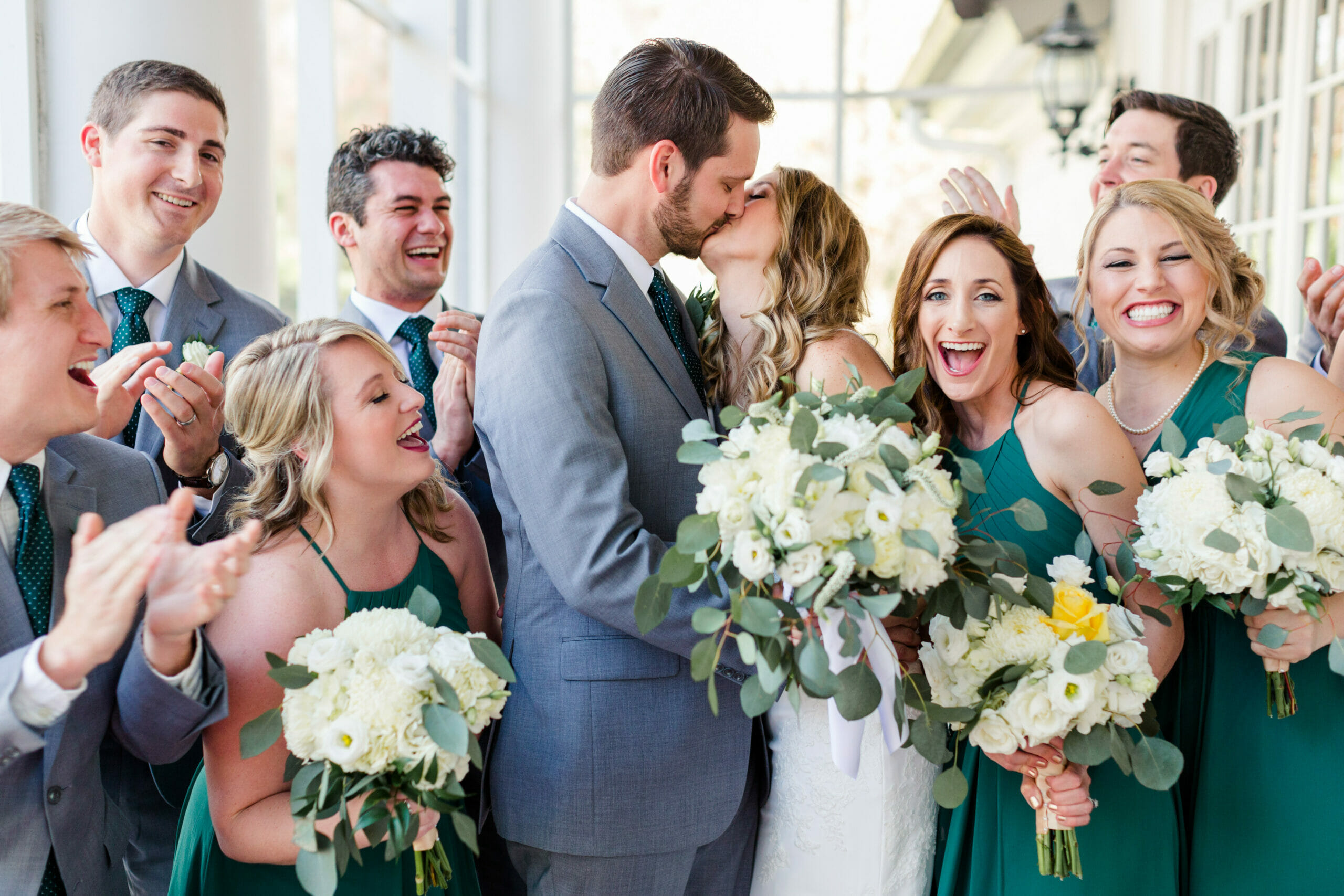 Bridal Party Celebrating the Bride and Groom