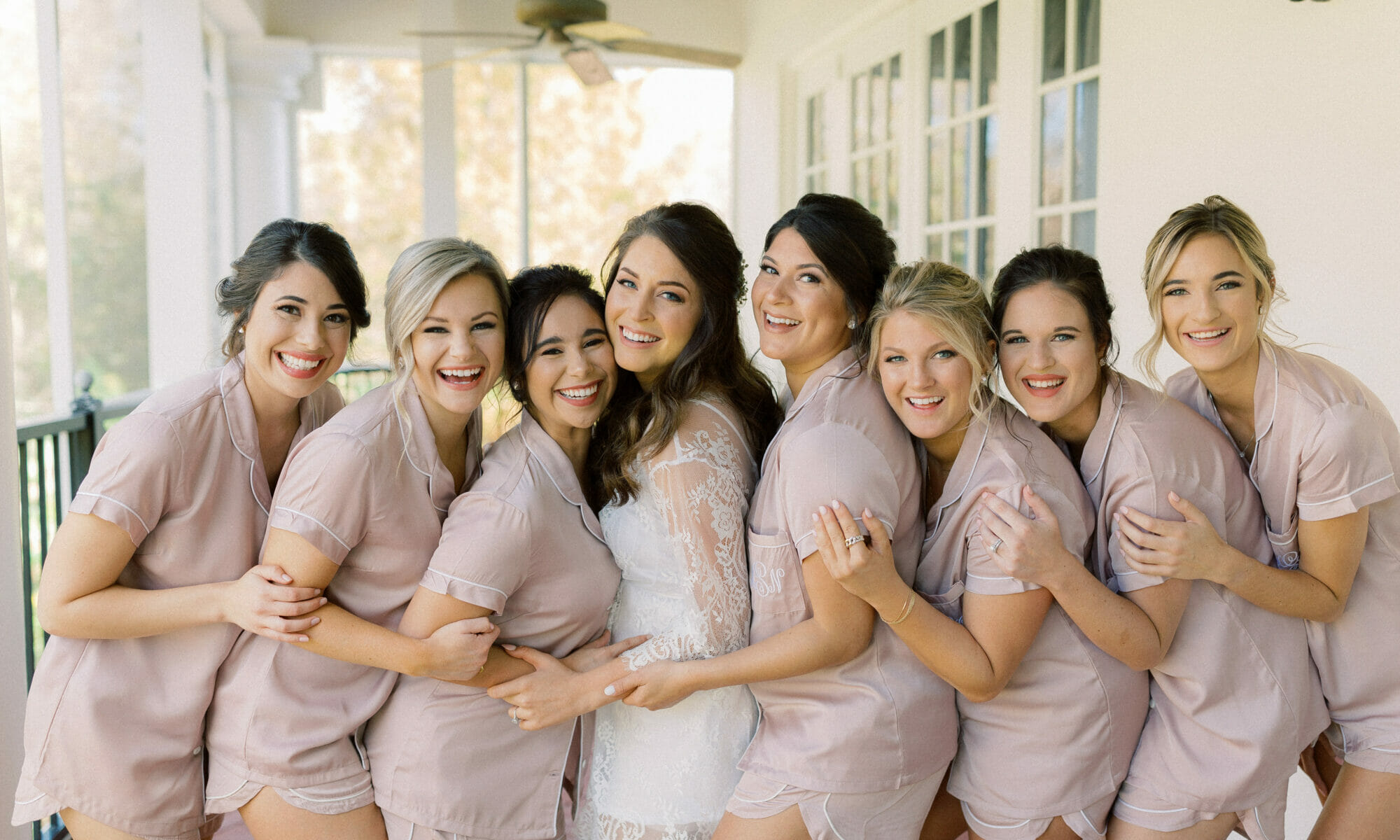 The bridal party celebrating with the bride