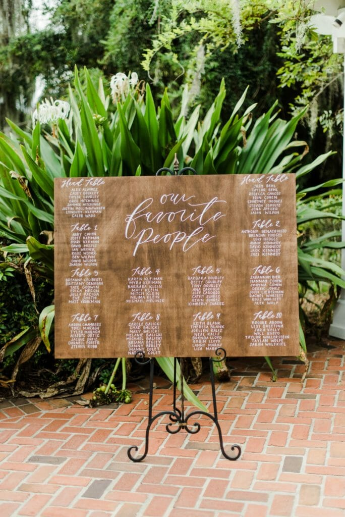 Custom wooden seating chart with white hand-lettered calligraphy.