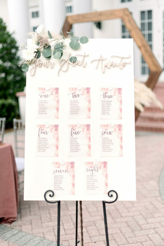 Seating Charts | Custom White Board with individual table assignments.