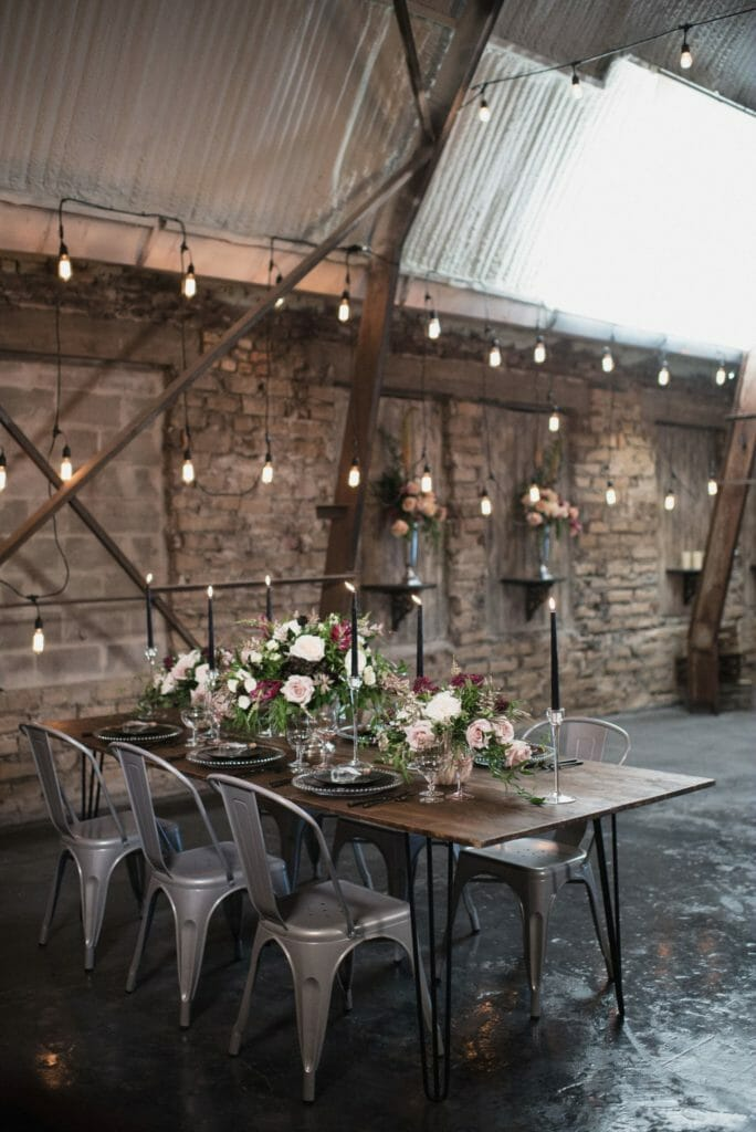 Grayson Ceremony Chairs Paired with Farm Tables