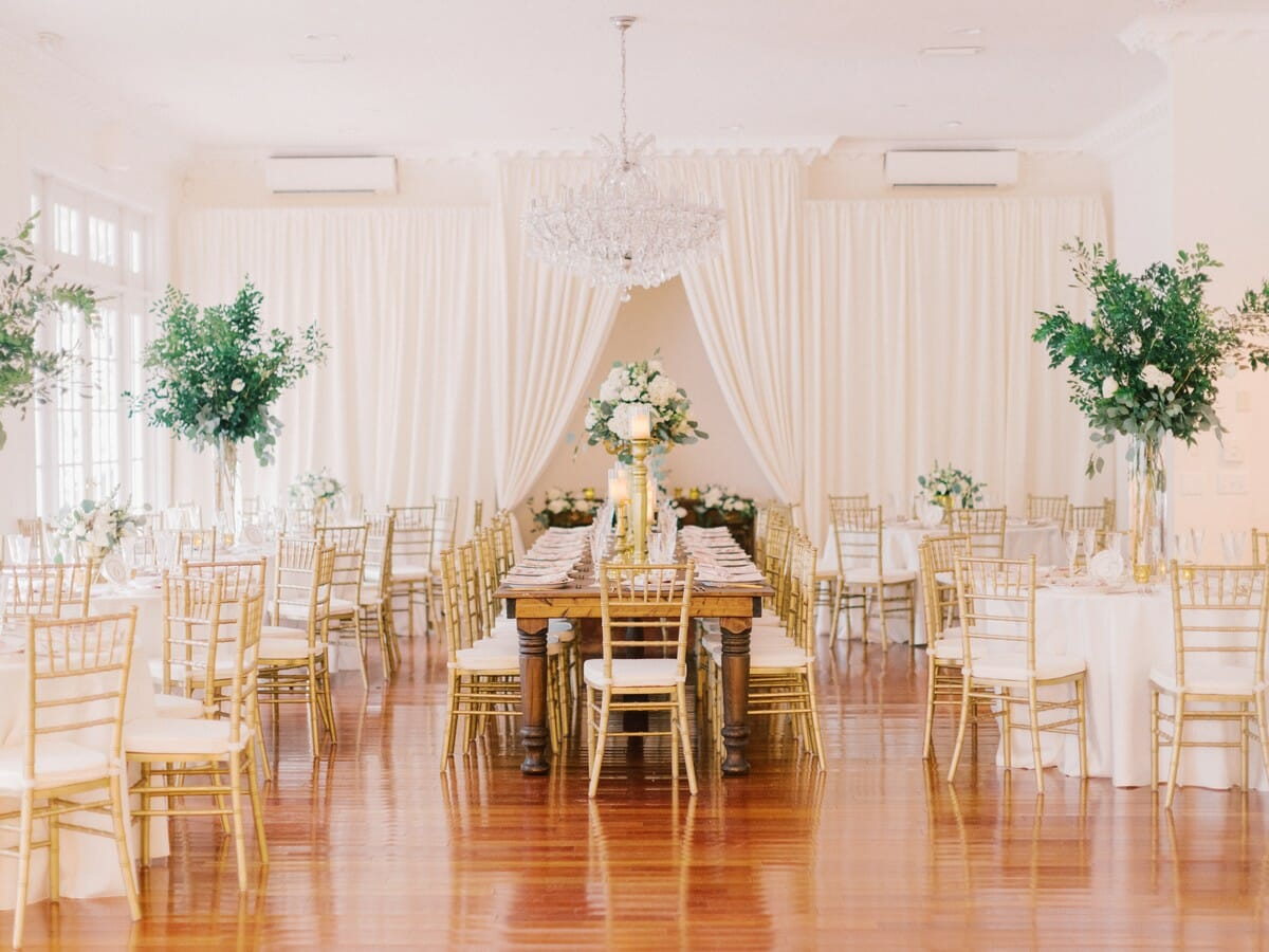 Wedding Layout | Mixed reception tables add a fun visual look!