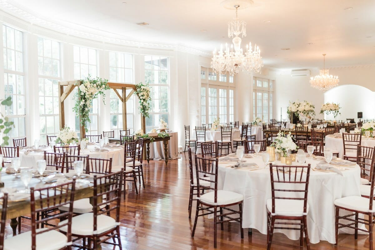 Emerald & Gold Wedding | Ballroom Reception with Mahogany Chiavari Chairs